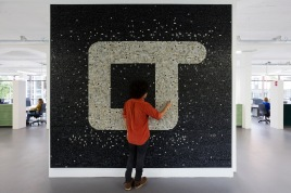 Black and white mosaic made of 20'000 computer keys