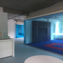 View across the enclosed meeting rooms